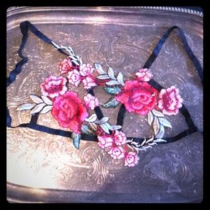Floral embroidery appliqué bra harness